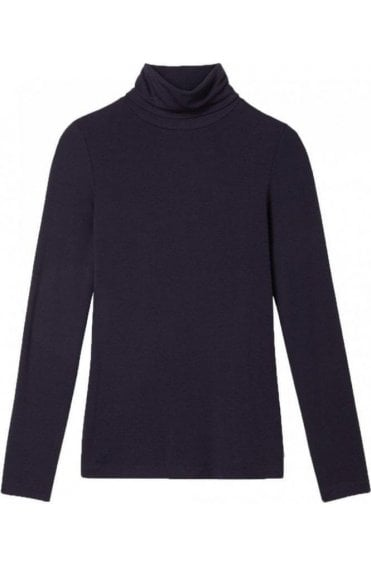 Navy Roll Neck Jersey Top