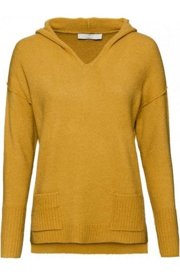Mustard Hooded Knit Jumper