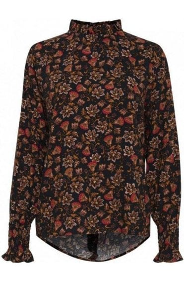 Frill Neck Floral Print Blouse
