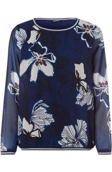 Blue Steel Floral Chiffon Blouse