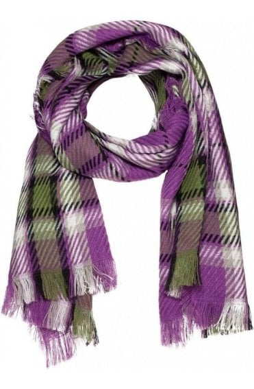 Purple Check Print Scarf