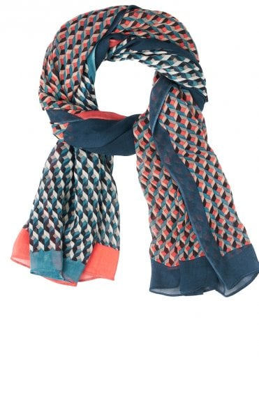 Deep Lagoon Patterned Scarf