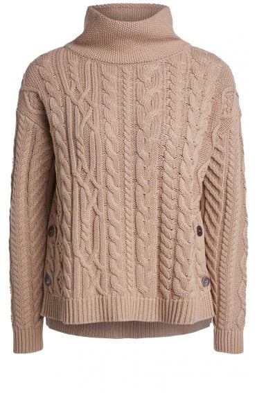 Light Camel Cable Knit Jumper