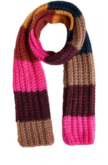 Chunky Knit Block Colour Scarf
