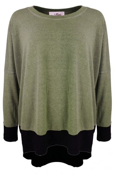Olive Oversized Jersey Top