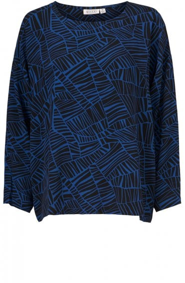 Bahati Blue Patterned Top